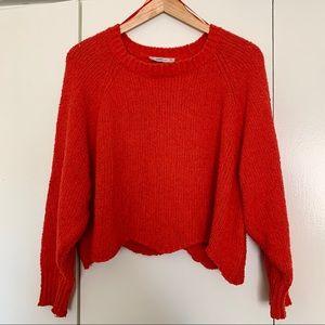 Zara Red Orange Cropped Knit Sweater SZ L